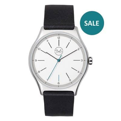 01 - slim made one 02 - thin wrist watch in silver with black leather band - front - sale